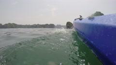 Pov Adventurous View Of Kayak Remote Lake 4k ha long bay vietnam paradise beach Stock Footage