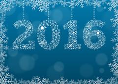 2016 text made of snowflakes on background with bokeh effect Stock Illustration