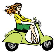 Woman driving scooter Stock Illustration