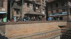 street scene on the square in the Bhaktapur, Nepal - stock footage