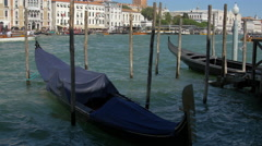 Two moored gondolas close to St Mark's Campanile in Venice Stock Footage