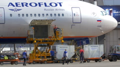 Unloading Plane from the Cargo and Luggage Stock Footage