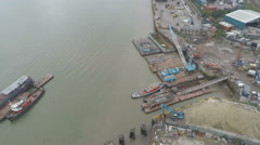 View of Thames from London Air Line cable car over Thames - stock footage