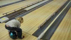 Little Boy Bowling Stock Footage