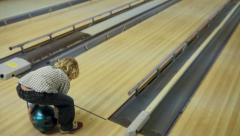Little Boy Bowling - stock footage