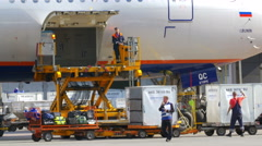 People Unloading Baggage Hold of the Plane - stock footage