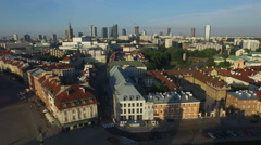 Aerial view of the beautiful buildings in the Old Town of Warsaw Stock Footage