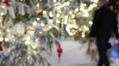Christmas shopping, illumination,blurry,bokeh Stock Footage