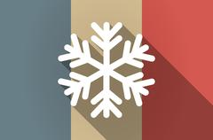 Long shadow flag of France vector icon with a snow flake - stock illustration