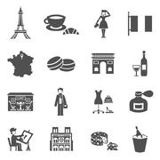 France Icons Black Stock Illustration