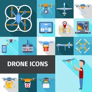 Drone Icons Set - stock illustration