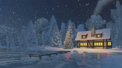 Cozy rustic house and christmas tree at snowfall night - stock footage