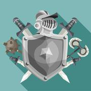 Knight Emblem Illustration - stock illustration