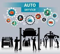 Auto Service Concept Background Stock Illustration