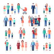 Family Flat Images Set Stock Illustration