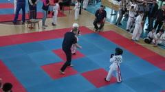 ODESSA, UKRAINE - 25th of APRIL 2015 Shinkyokushinkai Karate Championship. Stock Footage