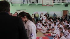 Shinkyokushinkai Karate Championship: Winner's reward ceremony Stock Footage