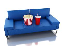 Stock Illustration of 3d Popcorn and drink on sofa. Cinema concept