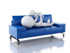 3d Father playing with her baby as lying on sofa - stock illustration