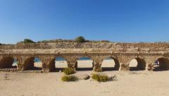 Caesarea aqueduct, Israel.- Aerial footage - stock footage