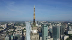 Great aerial view of Palace of Culture and Science, Warsaw Stock Footage