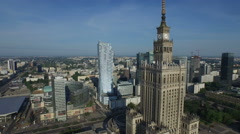 Aerial view of Palace of Culture and Science and Zlota 44, Warsaw Stock Footage
