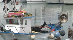 A fishing boat in the port of Chiavari Stock Footage