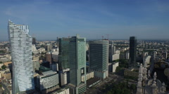 Aerial view of birds flying above beautiful skyscrapers in Warsaw Stock Footage