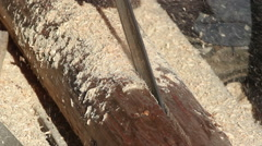 Cutting timber onto halves using chainsaw Stock Footage