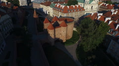 Aerial view of the Warsaw Barbican, Warsaw Stock Footage