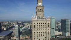 Amazing aerial view of Palace of Culture and Science in Warsaw Stock Footage