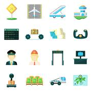 Airport flat icons set Stock Illustration