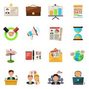 Meeting icons flat Stock Illustration