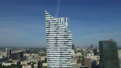 Great aerial view of Zlota 44, a residential skyscraper in Warsaw Stock Footage