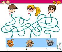 maze puzzle task for children - stock illustration