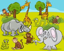 safari animals cartoon illustration - stock illustration