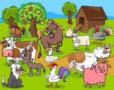 Stock Illustration of farm animals group cartoon