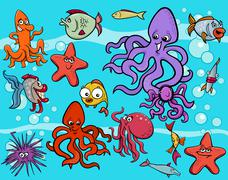 sea life group cartoon - stock illustration