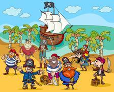 Stock Illustration of pirates on treasure island cartoon
