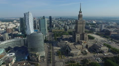 Aerial view of Emilii Plater street, with the skyscrapers nearby, Warsaw Stock Footage