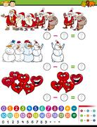 math game cartoon illustration - stock illustration