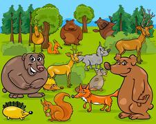 Stock Illustration of forest animals cartoon illustration