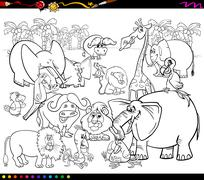 Stock Illustration of safari animals coloring book