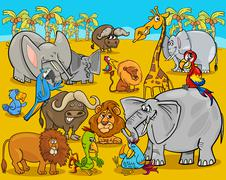 safari animals cartoon illustration - stock illustration