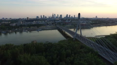 Aerial view of Holy Cross Bridge at dusk, Warsaw Stock Footage