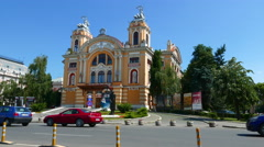 View on the national theater of Cluj-Napoca Stock Footage