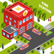 Fire Department Building  Isometric Concept - stock illustration