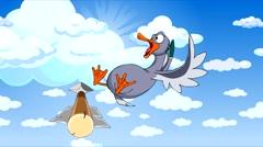 Cartoon bird flying in the sky between the clouds frightening boom. Stock Footage