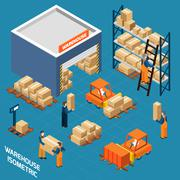 Warehouse Isometric Icons Concept - stock illustration