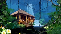 Wooden hut is a waterfall in the jungle. Stock Footage